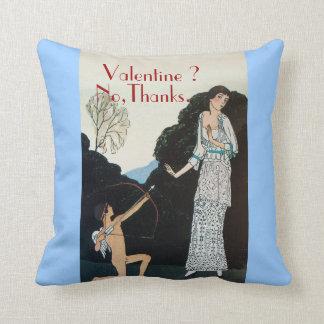 VALENTINE ? NO,THANKS /RETRO ANTI VALENTINE'S DAY THROW PILLOW