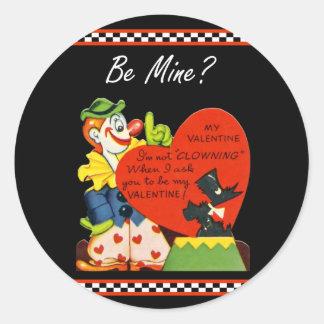 Valentine Not Clowing Around Scottish Terrier Classic Round Sticker