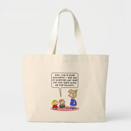 valentine now suing sue palimony large tote bag