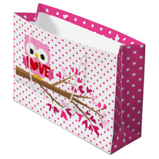 Valentine Owl and Pink Hearts Large Gift Bag