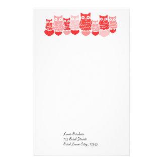 Valentine Owl Line Custom Stationery