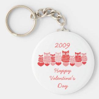 Valentine Owls Basic Round Button Keychain