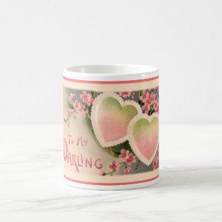 Valentine Pair of Hearts Pink Roses Coffee Mug