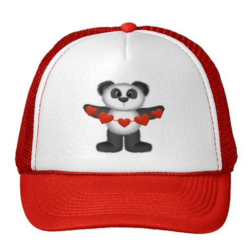 Valentine Panda Bear Holding String of Red Hearts Trucker Hats