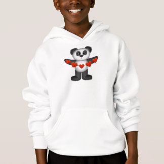 Valentine Panda Bear Holding String of Red Hearts Hoodie