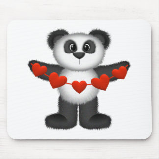 Valentine Panda Bear Holding String of Red Hearts Mouse Pad