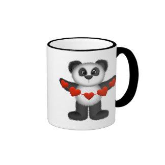 Valentine Panda Bear Holding String of Red Hearts Ringer Coffee Mug