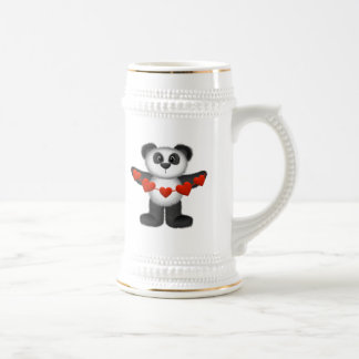 Valentine Panda Bear Holding String of Red Hearts Mugs