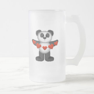 Valentine Panda Bear Holding String of Red Hearts 16 Oz Frosted Glass Beer Mug