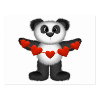 Valentine Panda Bear Holding String of Red Hearts Postcard