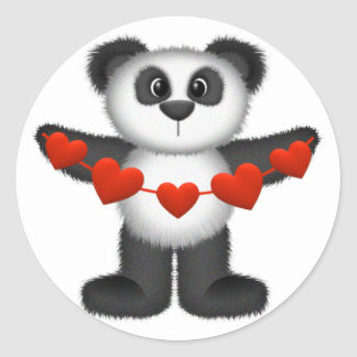 Valentine Panda Bear Holding String of Red Hearts Classic Round Sticker