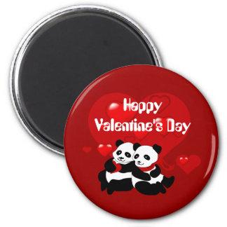 Valentine Panda Couple Hearts Custom Magnet