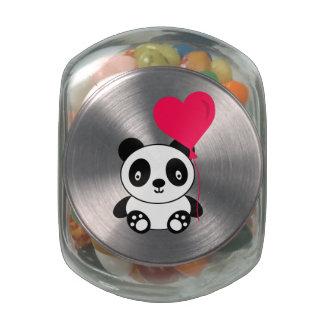 Valentine Panda Glass Candy Jars