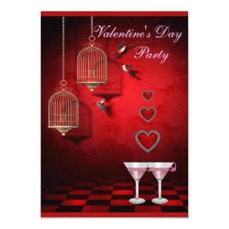"Valentine Party Birds Cages, Hearts & Pink Martini 5"" X 7"" Invitation Card"