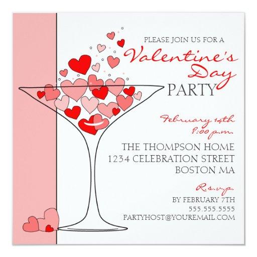 Valentine Party Heart Love Cocktail Invitation