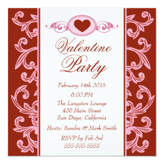 Valentine Party Invitations Red Strawberry Pink