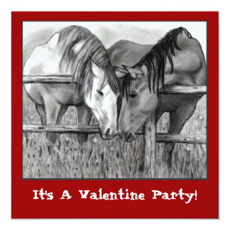 VALENTINE PARTY INVITE: HORSES NUZZLING CARD