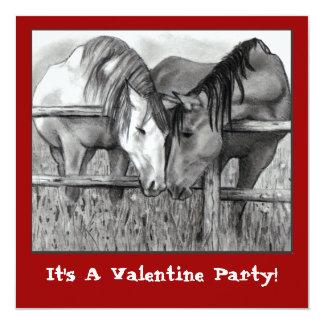 """VALENTINE PARTY INVITE: HORSES NUZZLING 5.25"""" SQUARE INVITATION CARD"""