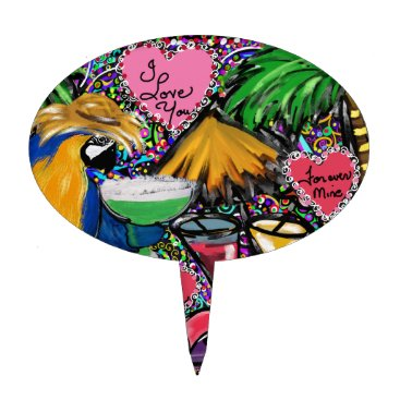 Hawaiian Themed Valentine Party Parrot Cake Topper