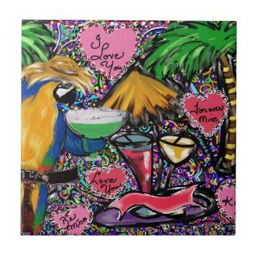 Hawaiian Themed Valentine Party Parrot Ceramic Tile