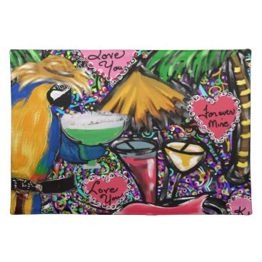 Hawaiian Themed Valentine Party Parrot Cloth Placemat