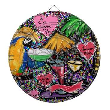 Hawaiian Themed Valentine Party Parrot Dart Board