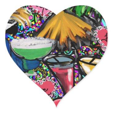 Hawaiian Themed Valentine Party Parrot Heart Sticker
