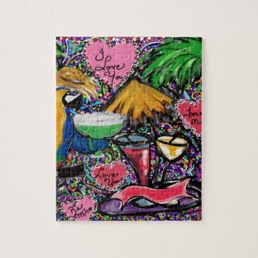 Hawaiian Themed Valentine Party Parrot Jigsaw Puzzle