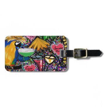 Hawaiian Themed Valentine Party Parrot Luggage Tag