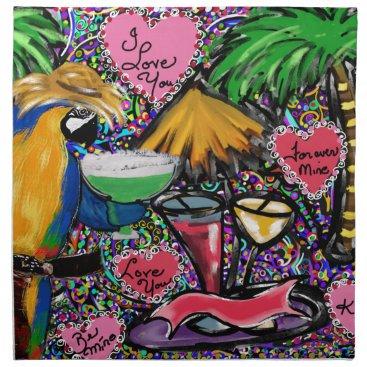 Hawaiian Themed Valentine Party Parrot Napkin