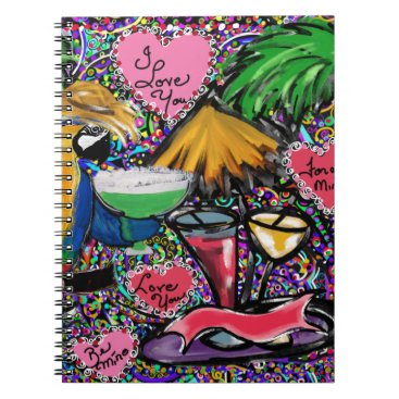 Hawaiian Themed Valentine Party Parrot Notebook