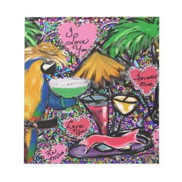 Hawaiian Themed Valentine Party Parrot Notepad