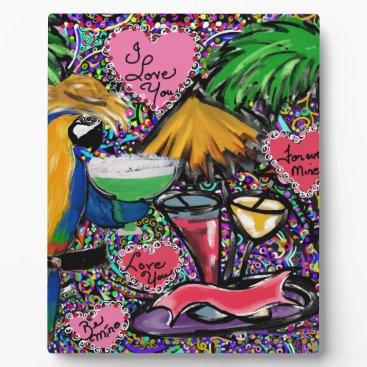 Hawaiian Themed Valentine Party Parrot Plaque