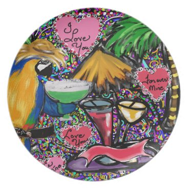 Hawaiian Themed Valentine Party Parrot Plate