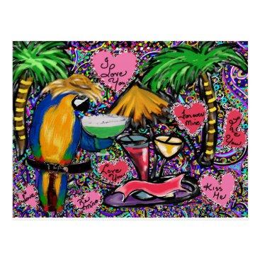 Hawaiian Themed Valentine Party Parrot Postcard