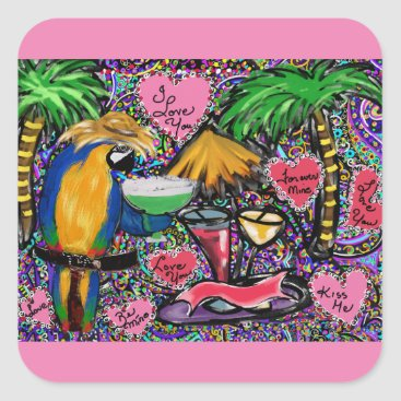 Hawaiian Themed Valentine Party Parrot Square Sticker