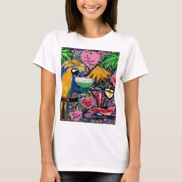 Hawaiian Themed Valentine Party Parrot T-Shirt