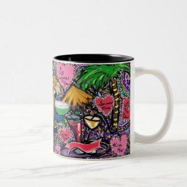 Hawaiian Themed Valentine Party Parrot Two-Tone Coffee Mug