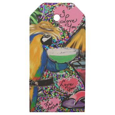 Hawaiian Themed Valentine Party Parrot Wooden Gift Tags