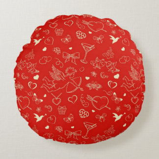 Valentine Pattern 2 Round Pillow