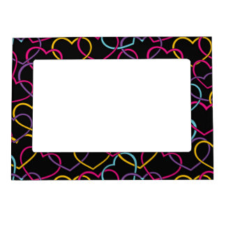 Valentine Pattern with Color Hearts Magnetic Picture Frames