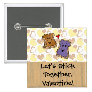 Valentine Peanut Butter and Jelly Pinback Button