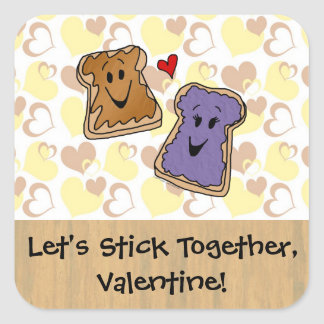 Valentine Peanut Butter and Jelly Square Sticker