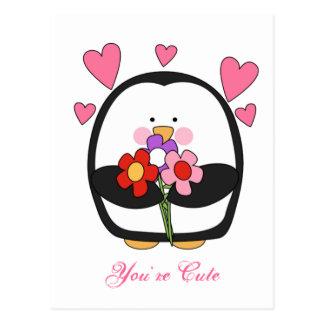 Elegant Valentine Penguin Postcard