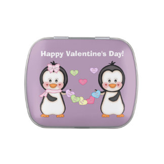 Valentine Penguins Jelly Belly Candy Tins
