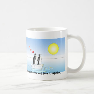 valentine penguins, whatever happens classic white coffee mug