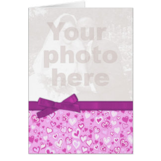 Valentine photo purple & pink hearts card