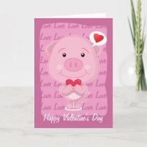 Valentine pig Card