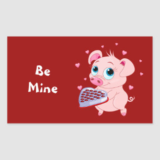 valentine pig chocolate rectangular sticker - Valentine Pig