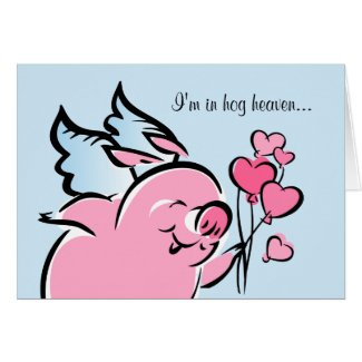 Valentine Pig Personalized Card